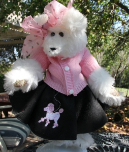 Pink Sweater Poodle Skirt Bear