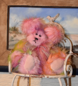 Pink Rainbow Bear with pink ultra suede paws