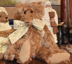 """Tanner, Sr, tan mohair, suede paws, 15"""" bear"""