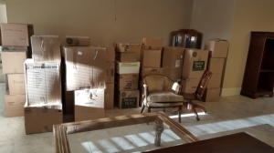 living room of boxes