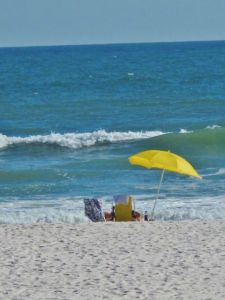 ocean, couple, umbrella
