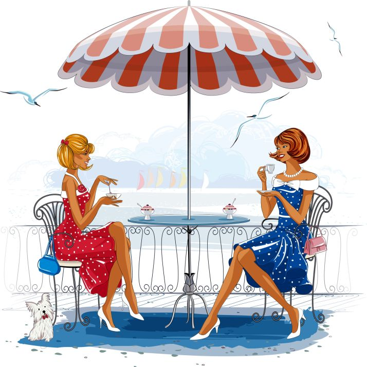 28250597 - two beautiful women sitting at the cafe near the beach