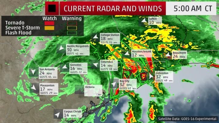 hurricane Harvey weather map Sunday 5