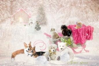 baby in pink sleigh imaginationbyrowena