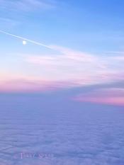 moon jet trail sunset