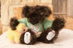 Brownie Bear with bunny sweater and baby lamb 1000 003